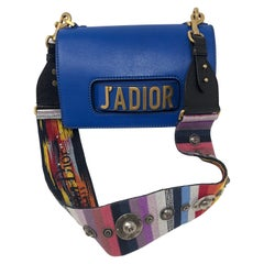 Christian Dior J'adior Blue Leather Bag with Multicolor Strap