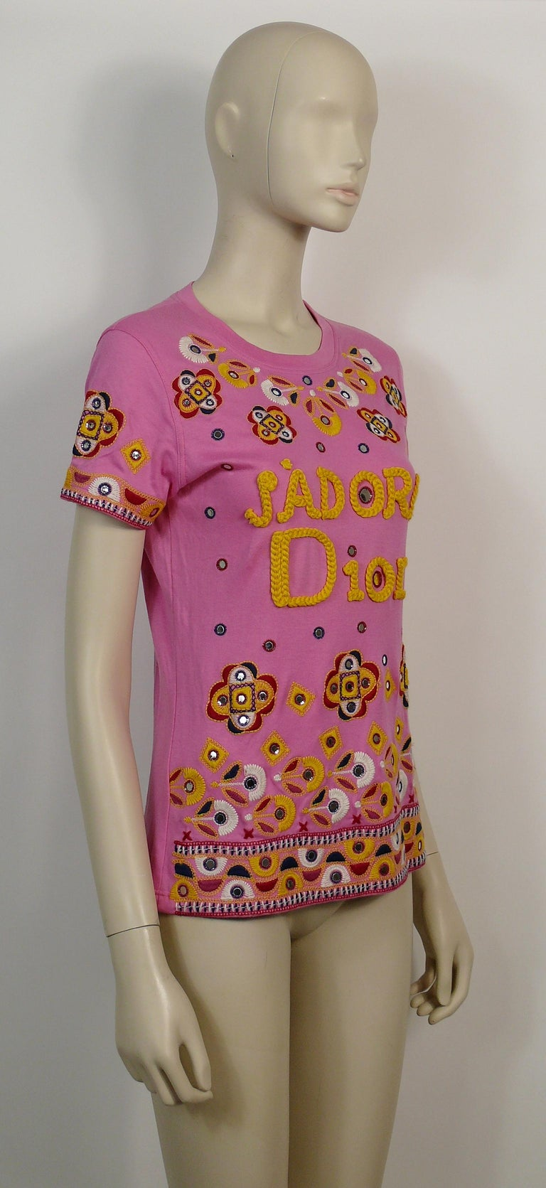 CHRISTIAN DIOR pink J'ADORE DIOR t-shirt featuring embroideries and faux mirrors.  Label reads CHRISTIAN DIOR BOUTIQUE Paris. Made in Italy.  Size tag reads : F 38 / GB 10 / D 36 / USA 6. Please refer to measurements.   Composition tag reads : 100%