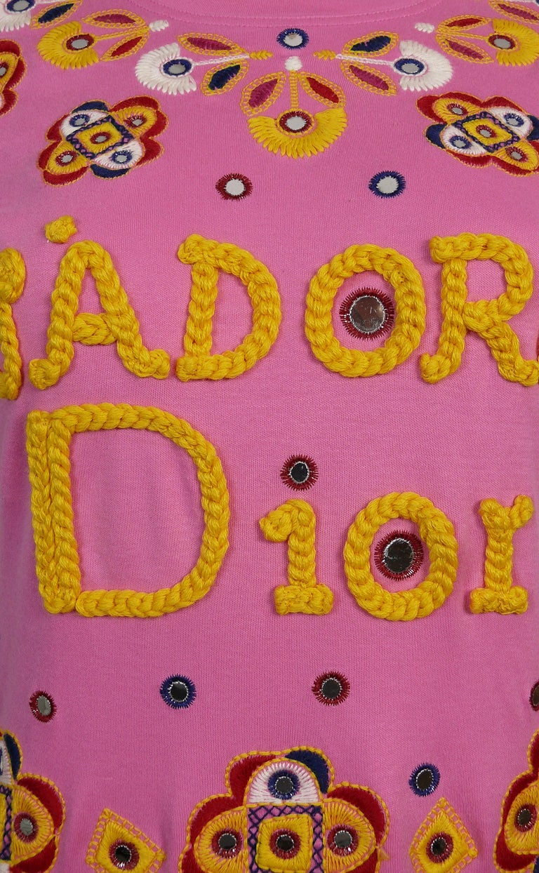 Pink Christian Dior J'adore Dior Embroidered T-Shirt US Size 6 For Sale