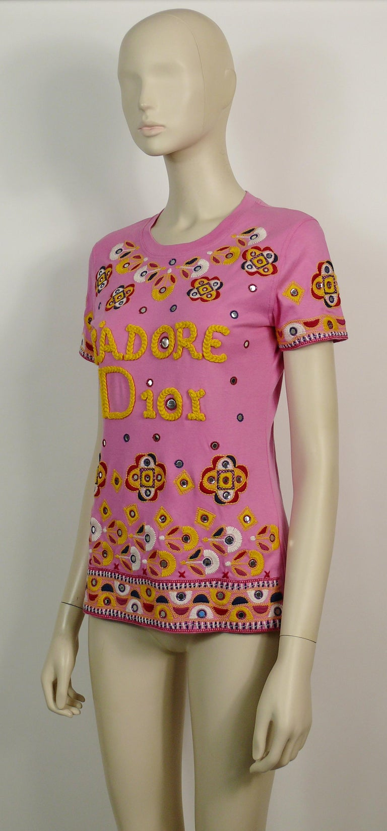 Christian Dior J'adore Dior Embroidered T-Shirt US Size 6 For Sale 1