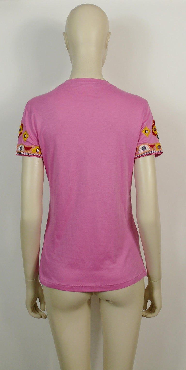 Christian Dior J'adore Dior Embroidered T-Shirt US Size 6 For Sale 2