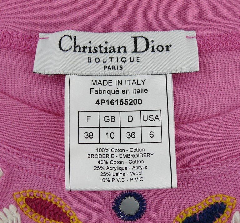 Christian Dior J'adore Dior Embroidered T-Shirt US Size 6 For Sale 3