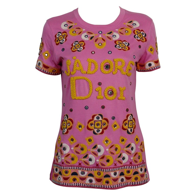 Christian Dior J'adore Dior Embroidered T-Shirt US Size 6 For Sale