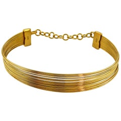 Christian Dior J'Adore Gold Toned Wire Choker Necklace