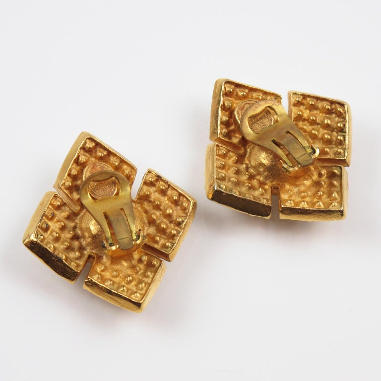 Women's or Men's Christian Dior Jeweled Clip Earrings For Sale