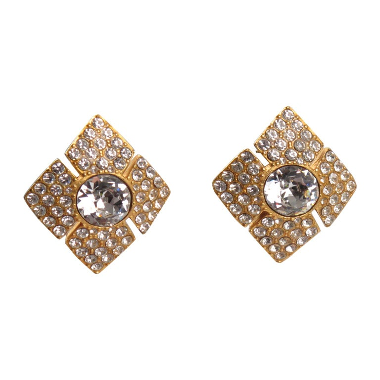 Christian Dior Jeweled Clip Earrings For Sale