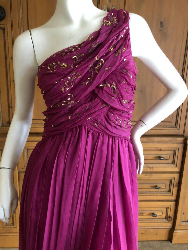 Christian Dior John Galliano One Shoulder Silk Gold Embellished Cocktail Dress . This is so pretty, please use the zoom to see the details. Size 40  Bust 36