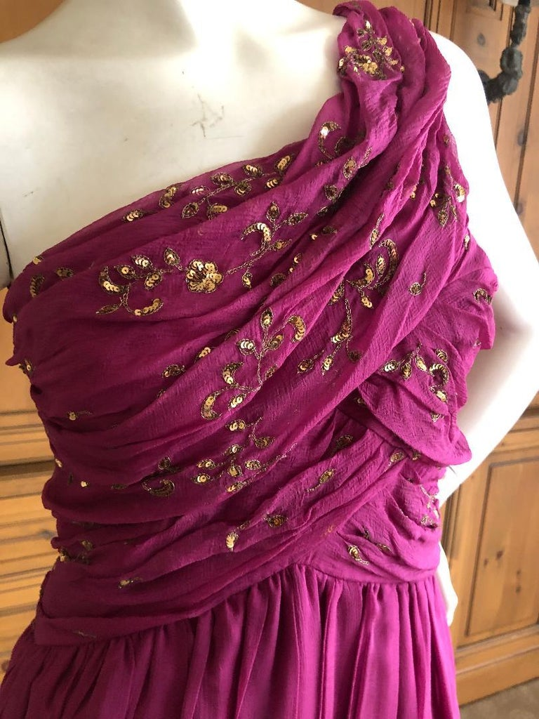 Christian Dior John Galliano One Shoulder Silk Gold Embellished Cocktail Dress  In Excellent Condition For Sale In San Francisco, CA