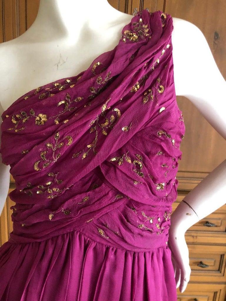 Women's Christian Dior John Galliano One Shoulder Silk Gold Embellished Cocktail Dress  For Sale