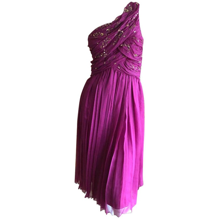 Christian Dior John Galliano One Shoulder Silk Gold Embellished Cocktail Dress  For Sale