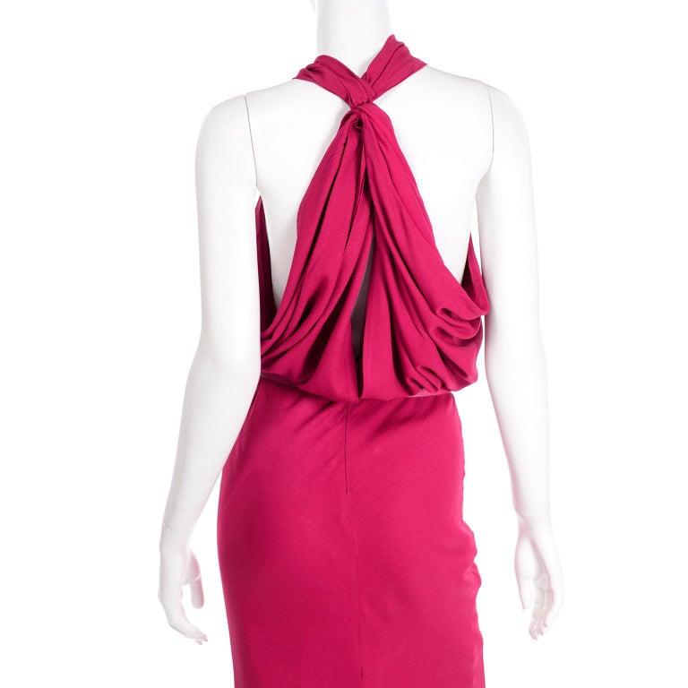 Christian Dior John Galliano Raspberry Magenta Pink 1930s Inspired Evening Dress For Sale 6