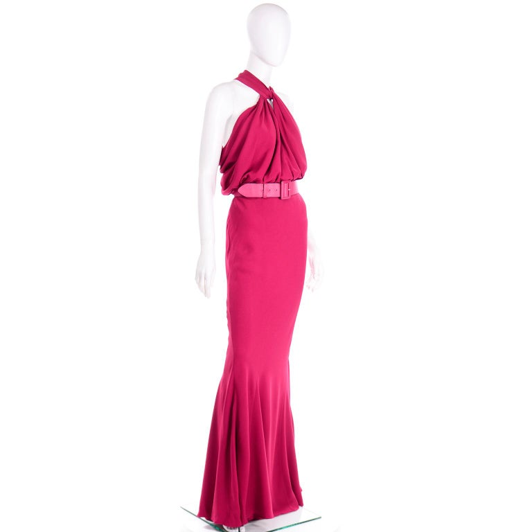 Christian Dior John Galliano Raspberry Magenta Pink 1930s Inspired Evening Dress In Excellent Condition For Sale In Portland, OR