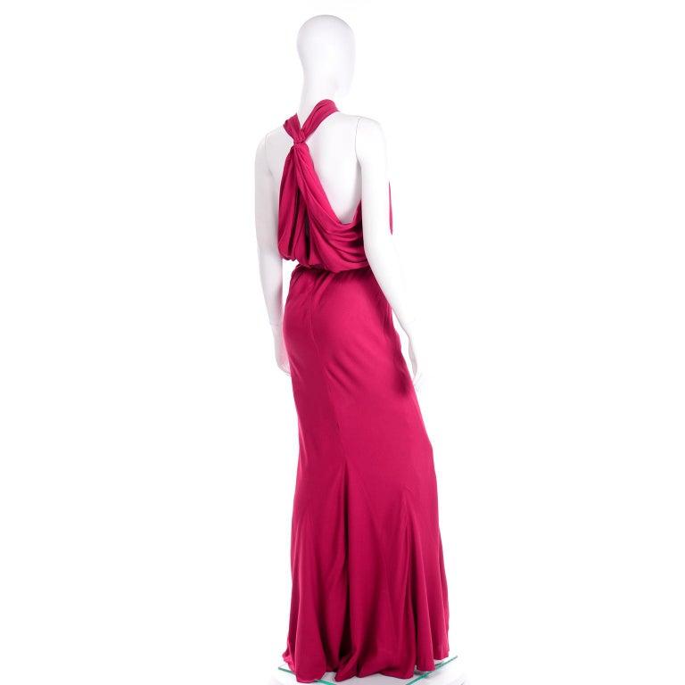 Women's Christian Dior John Galliano Raspberry Magenta Pink 1930s Inspired Evening Dress For Sale