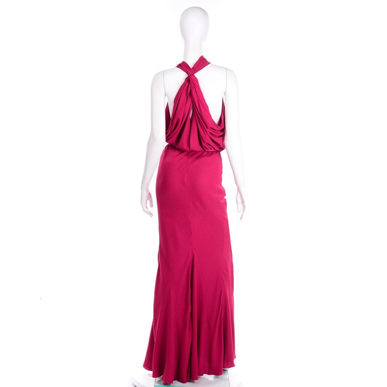 Christian Dior John Galliano Raspberry Magenta Pink 1930s Inspired Evening Dress For Sale 1