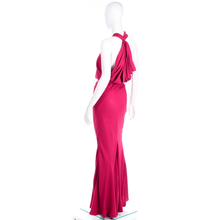 Christian Dior John Galliano Raspberry Magenta Pink 1930s Inspired Evening Dress For Sale 2