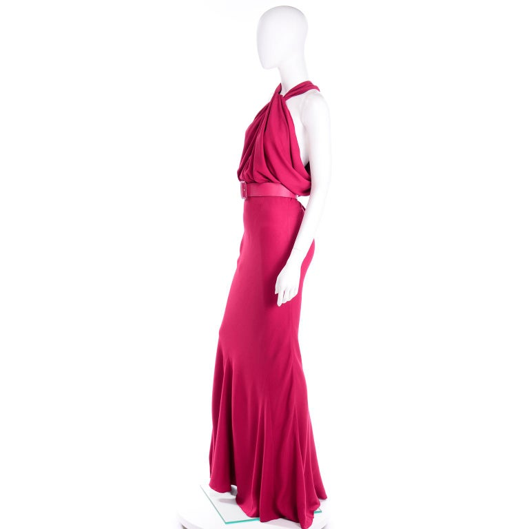 Christian Dior John Galliano Raspberry Magenta Pink 1930s Inspired Evening Dress For Sale 3