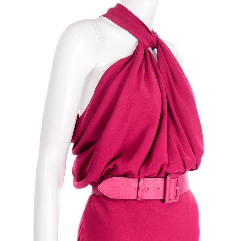 Christian Dior John Galliano Raspberry Magenta Pink 1930s Inspired Evening Dress For Sale 5