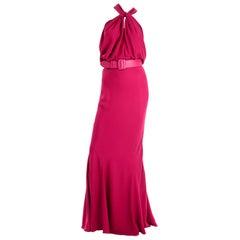 Christian Dior John Galliano Raspberry Magenta Pink 1930s Inspired Evening Dress