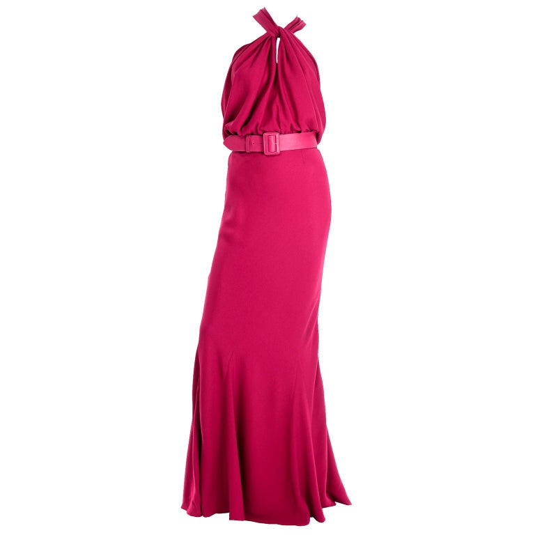 Christian Dior John Galliano Raspberry Magenta Pink 1930s Inspired Evening Dress For Sale