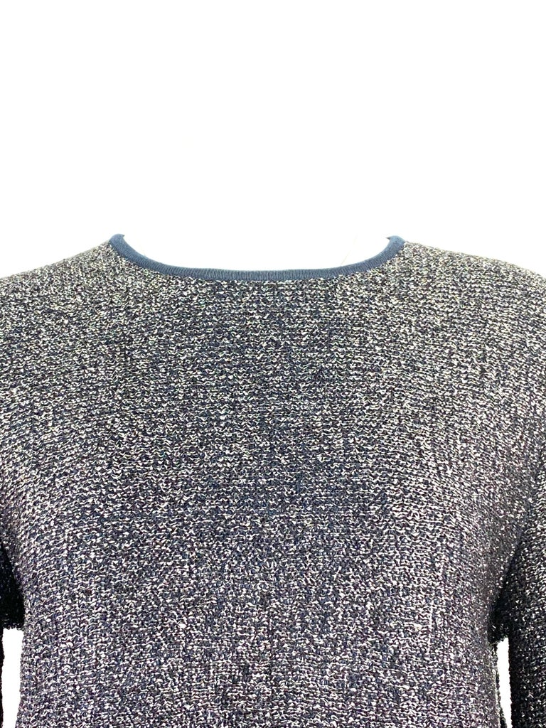 Christian Dior Knit Navy Metallic Crop Top w/ Pencil Skirt Set In Excellent Condition For Sale In  Beverly Hills, CA