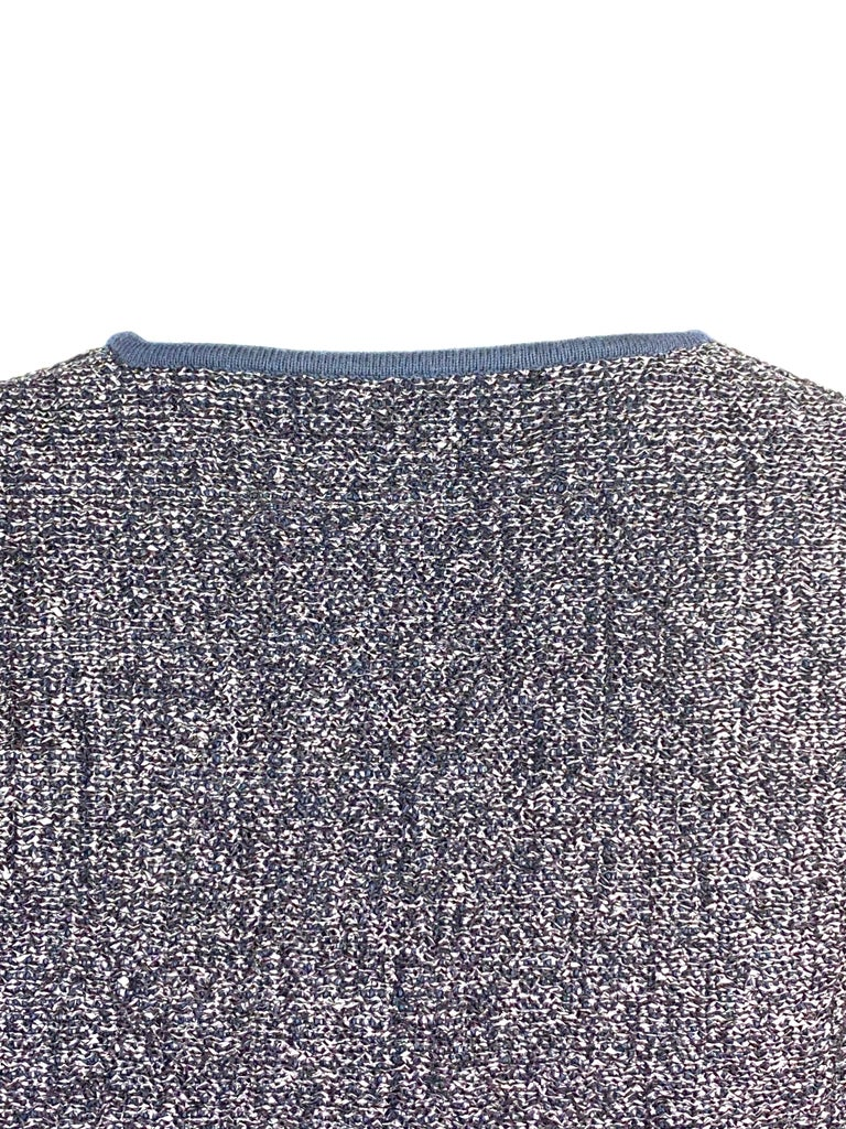 Christian Dior Knit Navy Metallic Crop Top w/ Pencil Skirt Set For Sale 2