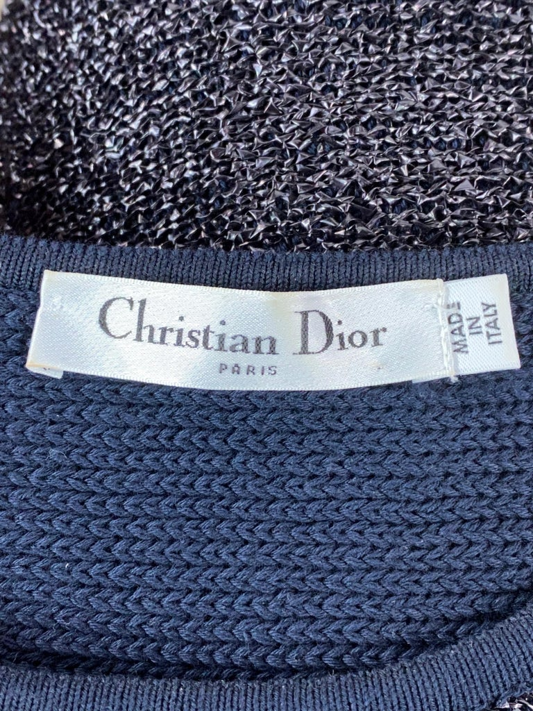 Christian Dior Knit Navy Metallic Crop Top w/ Pencil Skirt Set For Sale 5