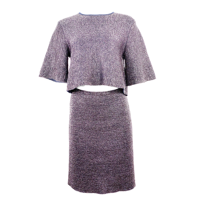 Christian Dior Knit Navy Metallic Crop Top w/ Pencil Skirt Set