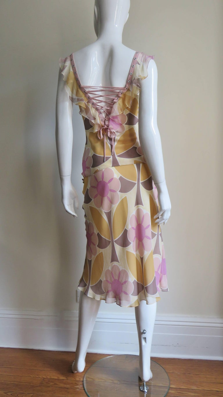 Christian Dior Silk Lace up Top and Skirt For Sale 6