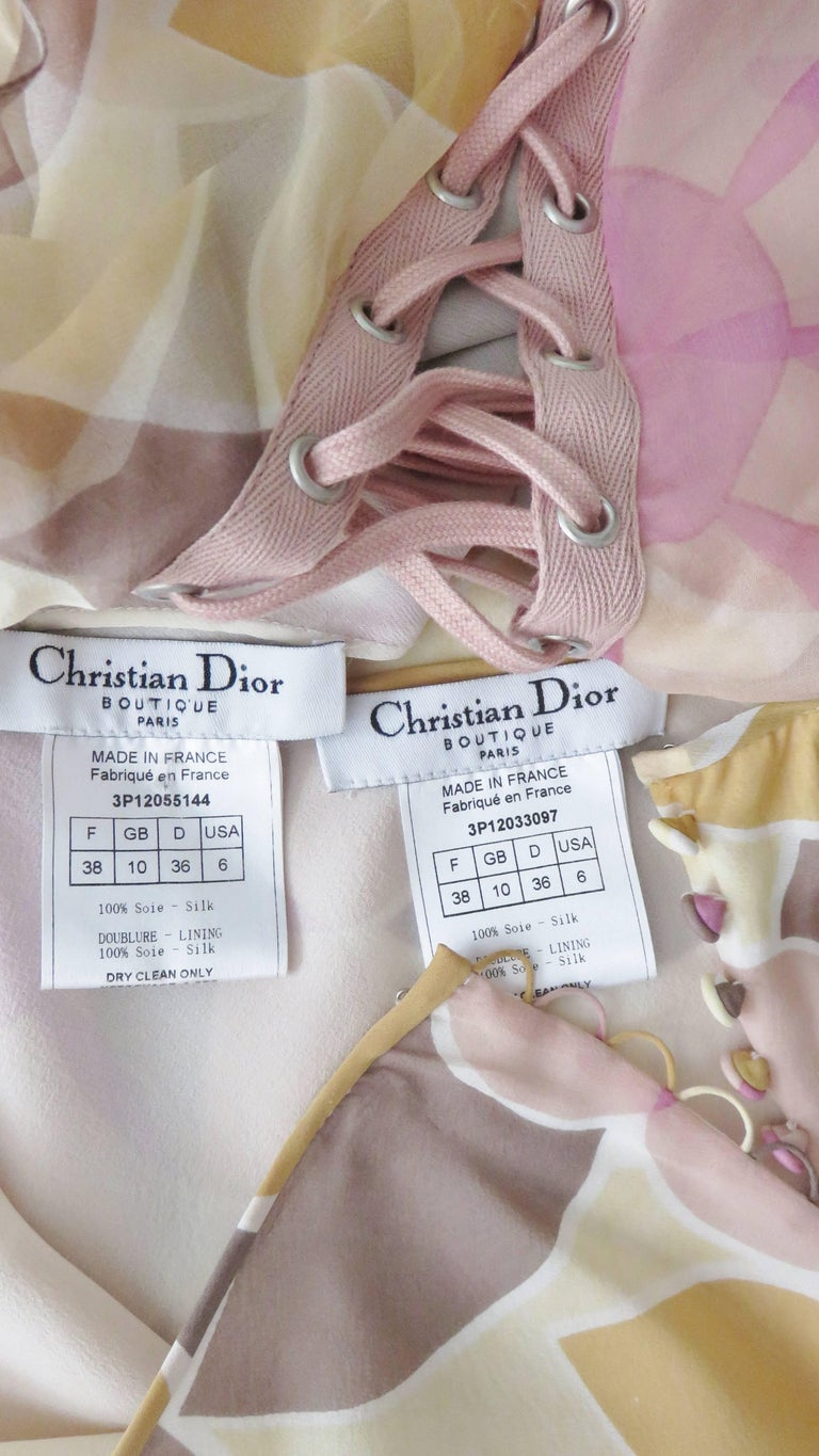Christian Dior Silk Lace up Top and Skirt For Sale 7