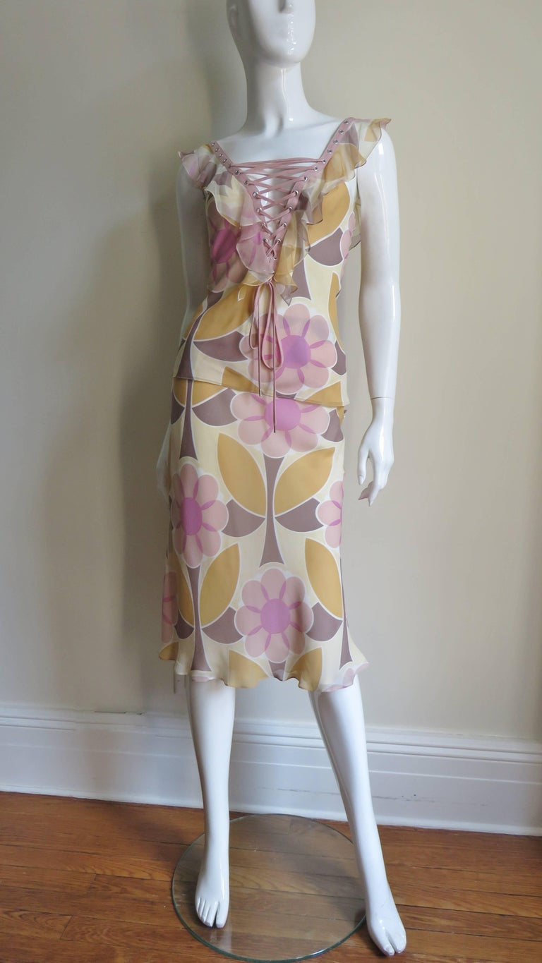 Christian Dior Silk Lace up Top and Skirt For Sale 2