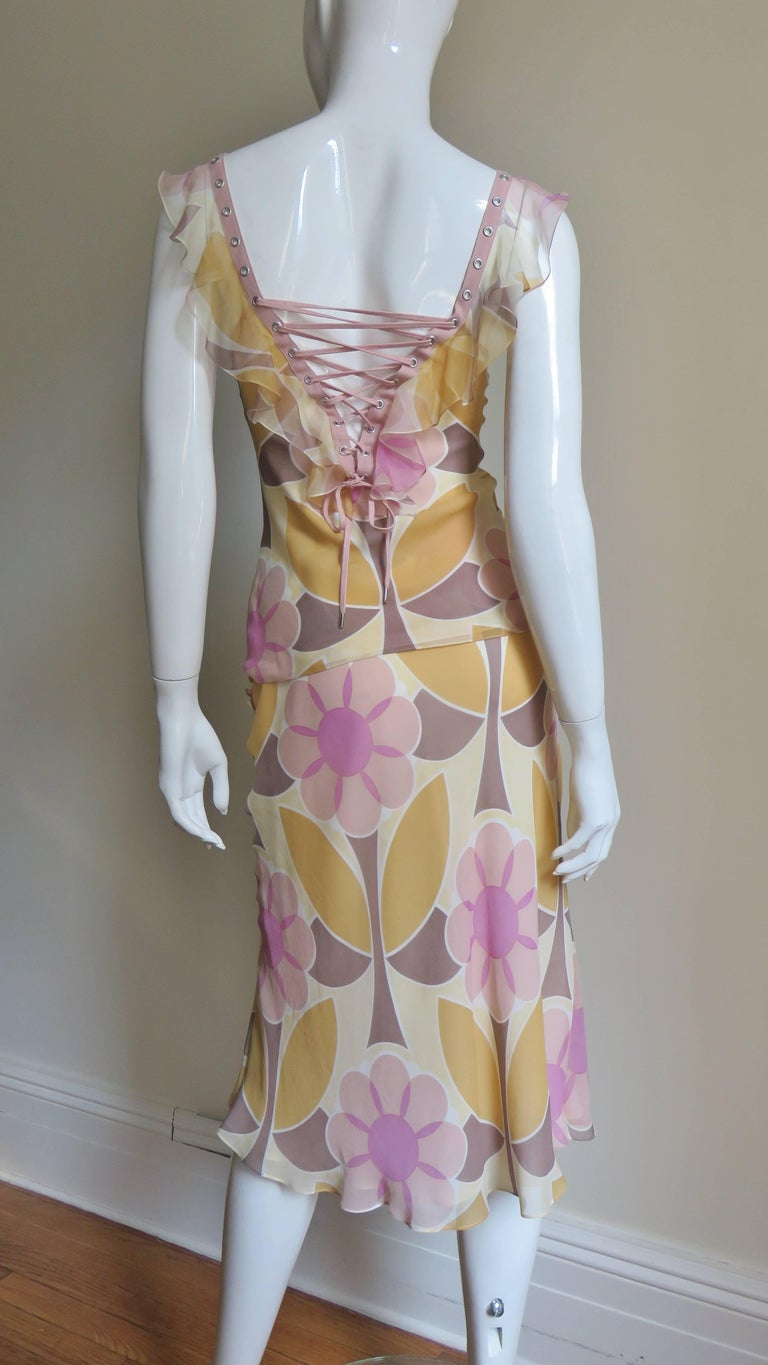 Christian Dior Silk Lace up Top and Skirt For Sale 3