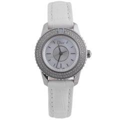 Christian Dior Ladies Stainless Steel Diamond Crystal Quartz Wristwatch