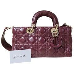 Christian Dior Lady Dior 2016 Burgundy Rectangular Leather Bag