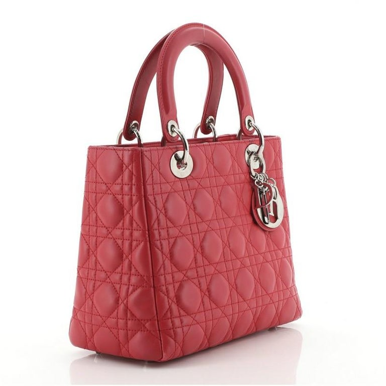 Red Christian Dior Lady Dior Bag Cannage Quilt Lambskin Medium