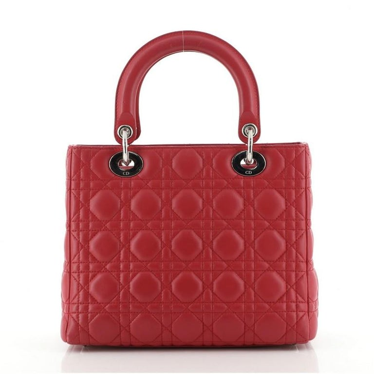 Christian Dior Lady Dior Bag Cannage Quilt Lambskin Medium In Good Condition In New York, NY