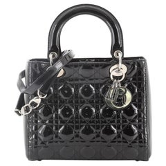 Christian Dior Lady Dior Bag Cannage Quilt Patent Medium
