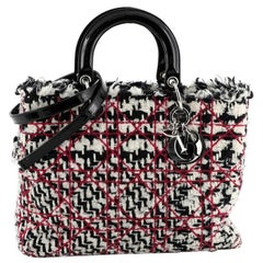 Christian Dior Lady Dior Bag Cannage Quilt Tweed with Patent Large