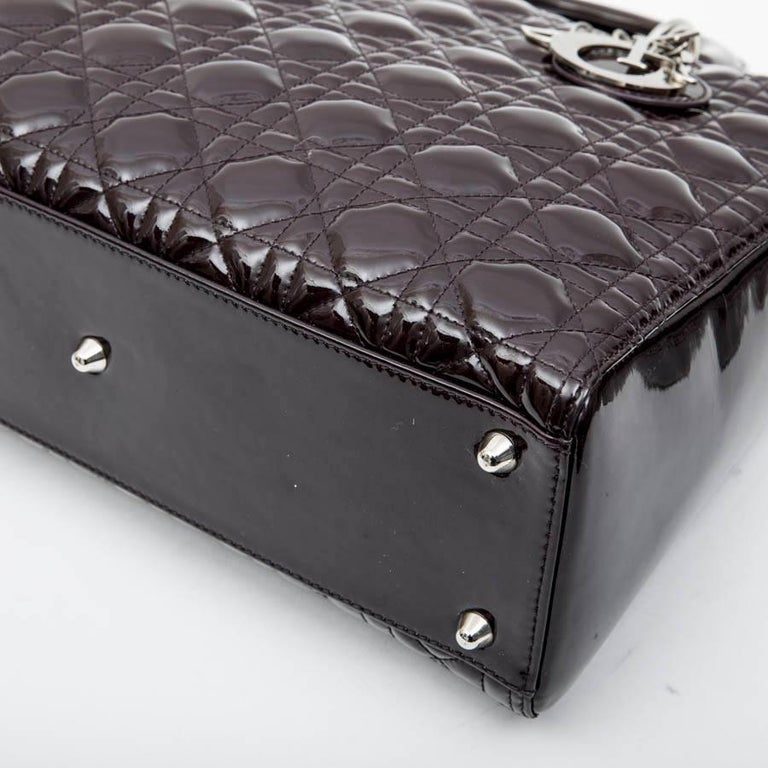 CHRISTIAN DIOR 'Lady Dior' Bag in Plum Patent Leather For Sale 5