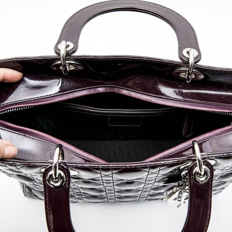 CHRISTIAN DIOR 'Lady Dior' Bag in Plum Patent Leather For Sale 6
