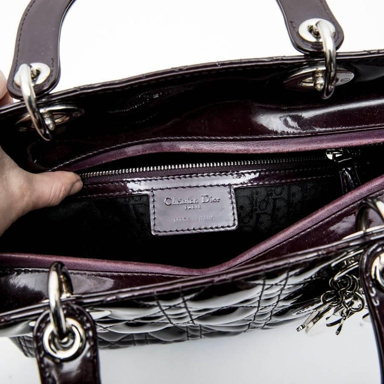 CHRISTIAN DIOR 'Lady Dior' Bag in Plum Patent Leather For Sale 7