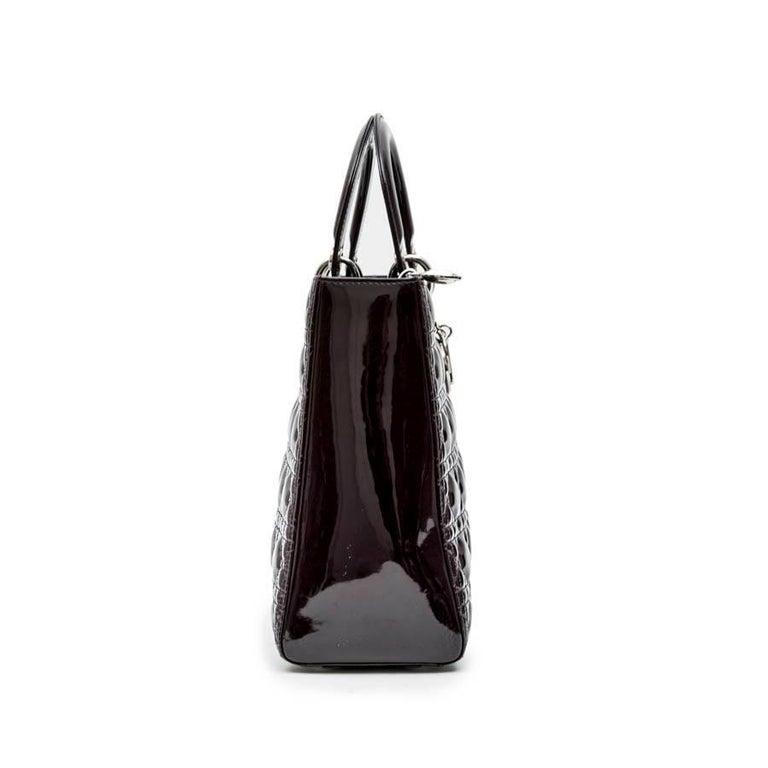 Black CHRISTIAN DIOR 'Lady Dior' Bag in Plum Patent Leather For Sale