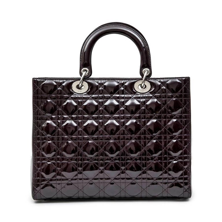 CHRISTIAN DIOR 'Lady Dior' Bag in Plum Patent Leather In Excellent Condition In Paris, FR