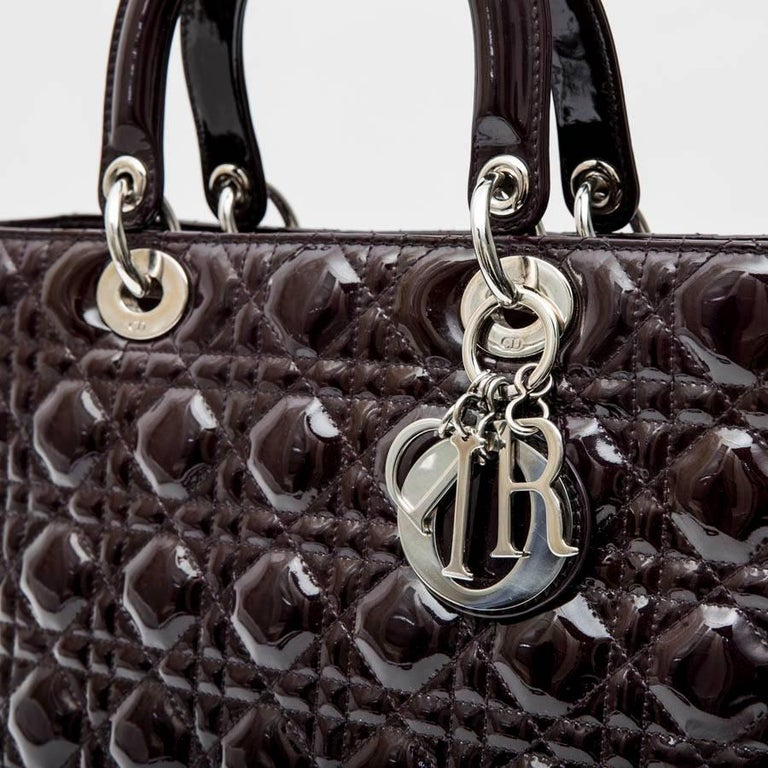 Women's CHRISTIAN DIOR 'Lady Dior' Bag in Plum Patent Leather For Sale