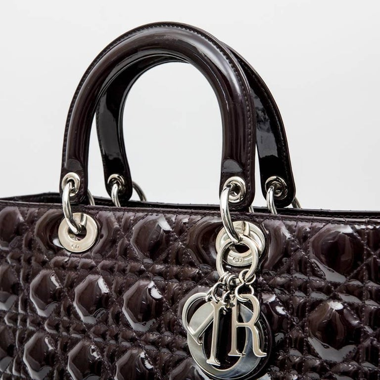 CHRISTIAN DIOR 'Lady Dior' Bag in Plum Patent Leather For Sale 1