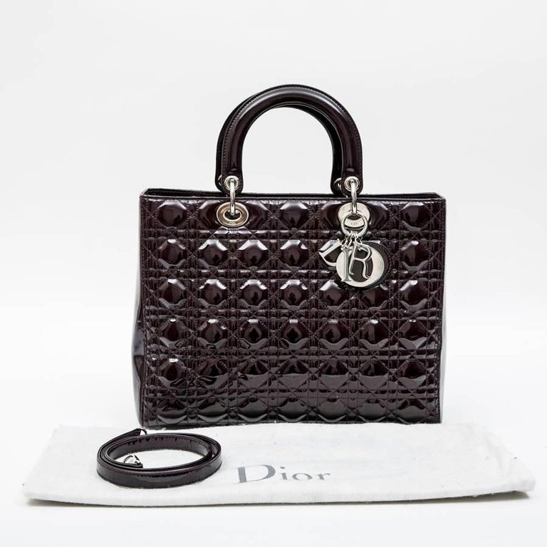 CHRISTIAN DIOR 'Lady Dior' Bag in Plum Patent Leather For Sale 2