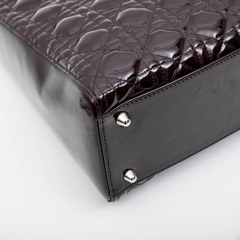 CHRISTIAN DIOR 'Lady Dior' Bag in Plum Patent Leather For Sale 4