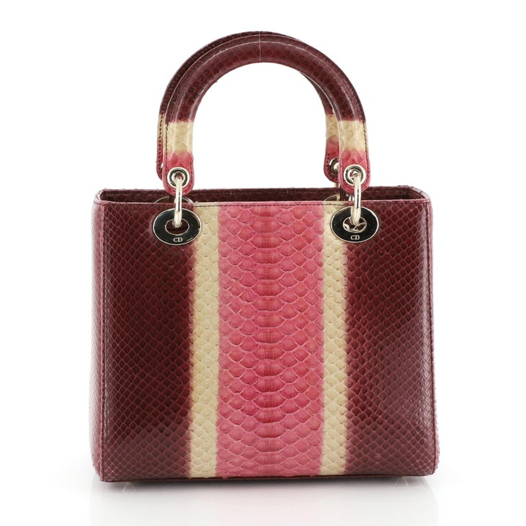 Christian Dior Lady Dior Bag Python Medium In Good Condition For Sale In New York, NY