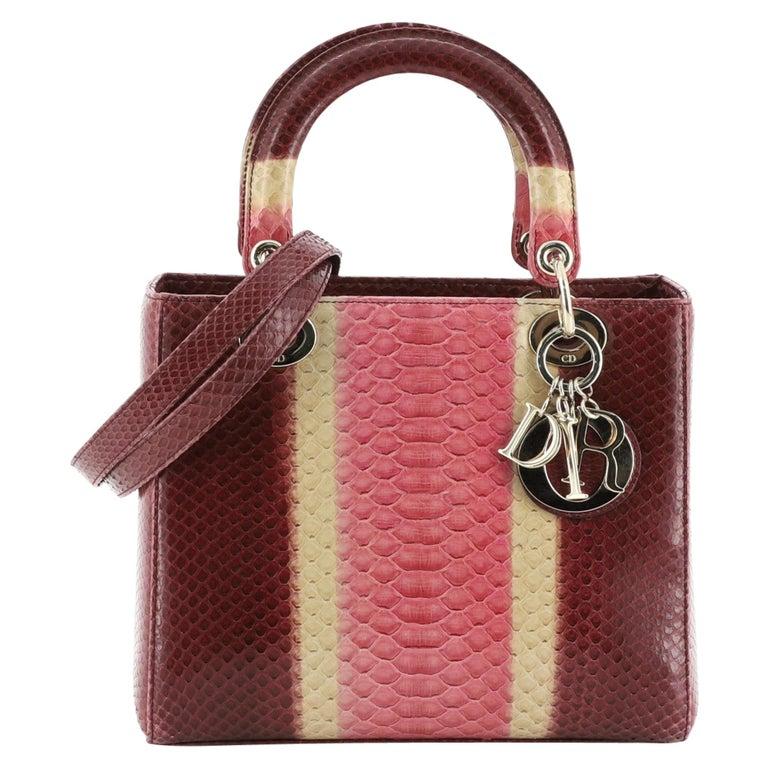 Christian Dior Lady Dior Bag Python Medium For Sale
