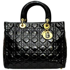 Christian Dior Lady Dior Black Patent Top Handle Bag