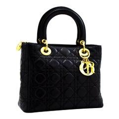 Christian Dior Lady Dior Cannage Handbag Bag Leather Black Vintage
